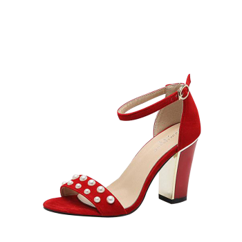 Ankle Strap Faux Pearls Block Heel Sandals