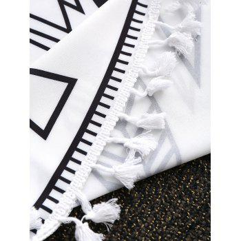 Chinese Tai Chi Tassel Round Beach Throw - WHITE/BLACK WHITE/BLACK