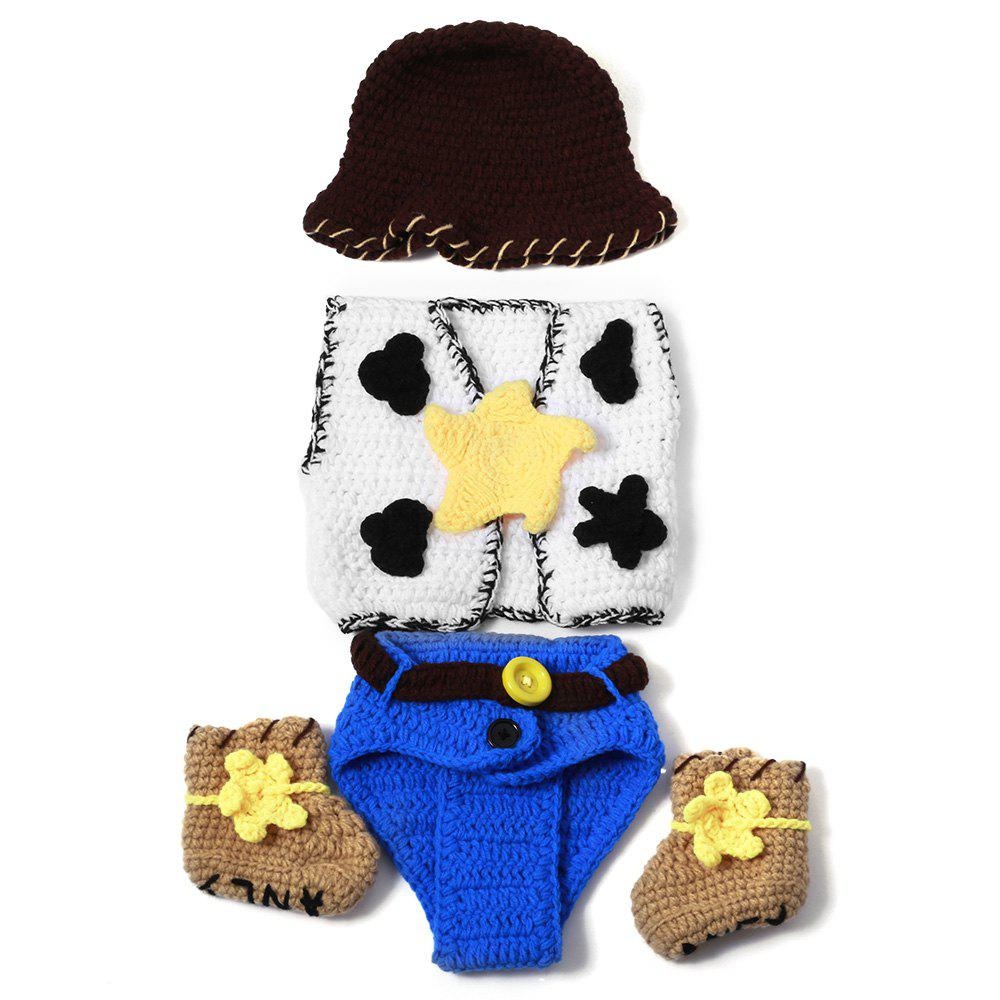 Set of Chic Cowboy Style Knitting Props Clothes Hat Jacket Boot For Baby's Photography