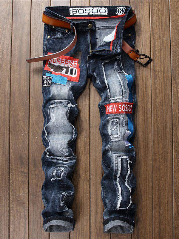 Patched Embroidered Jeans boys emoji embroidered jeans