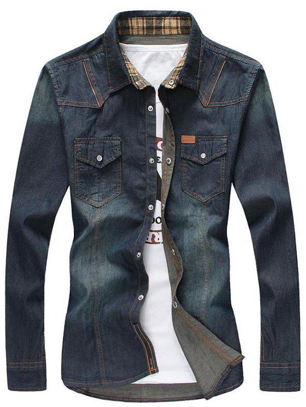 Zipper Design Bleach Wash Pockets Denim Shirt - DEEP BLUE L