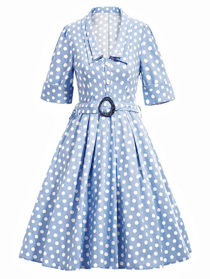 Vintage Polka Dot Flare Dress With Belt - LIGHT BLUE S