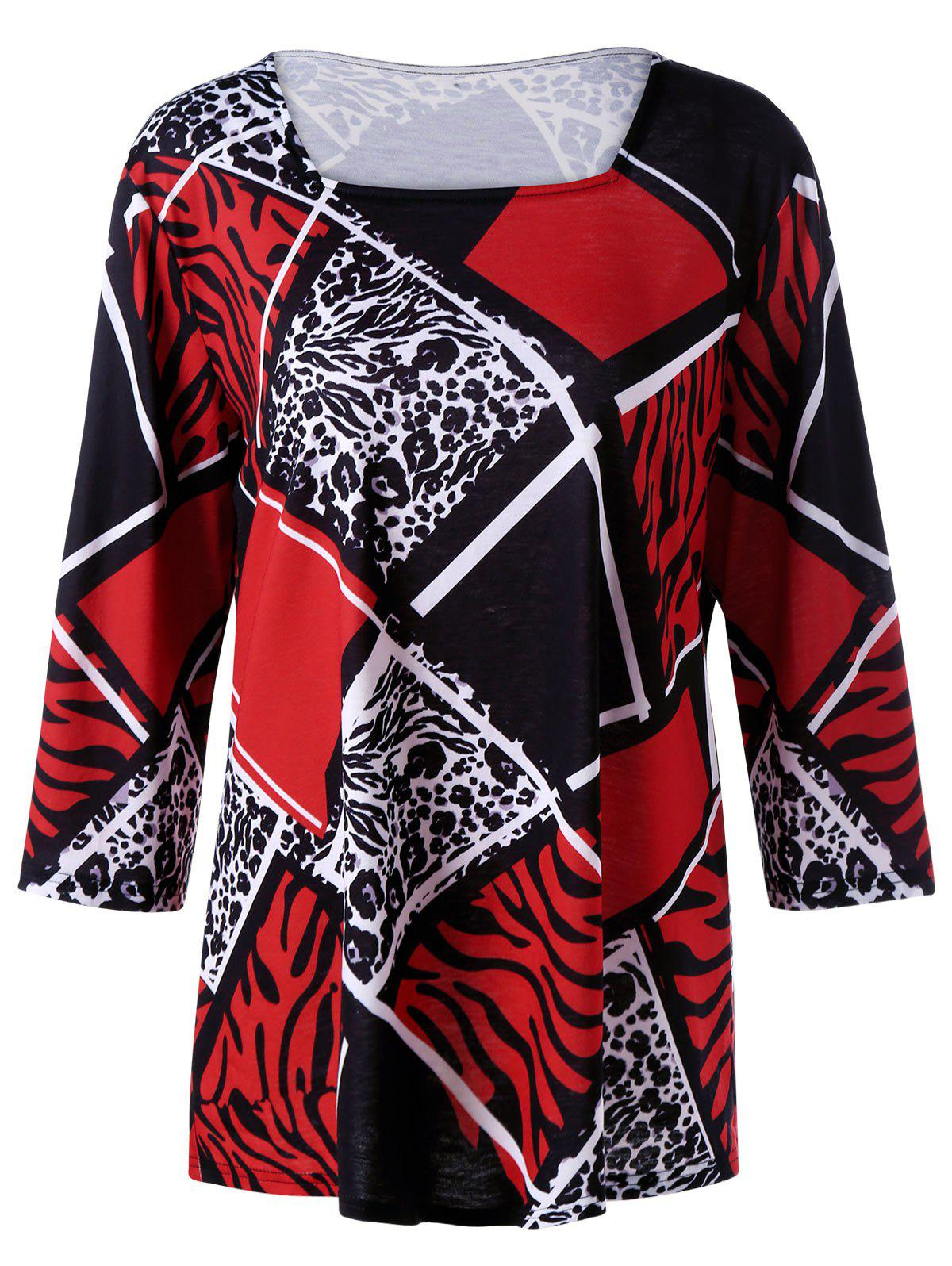 Plus Size Zebra And Plaid T Shirt Black White Red Xl In