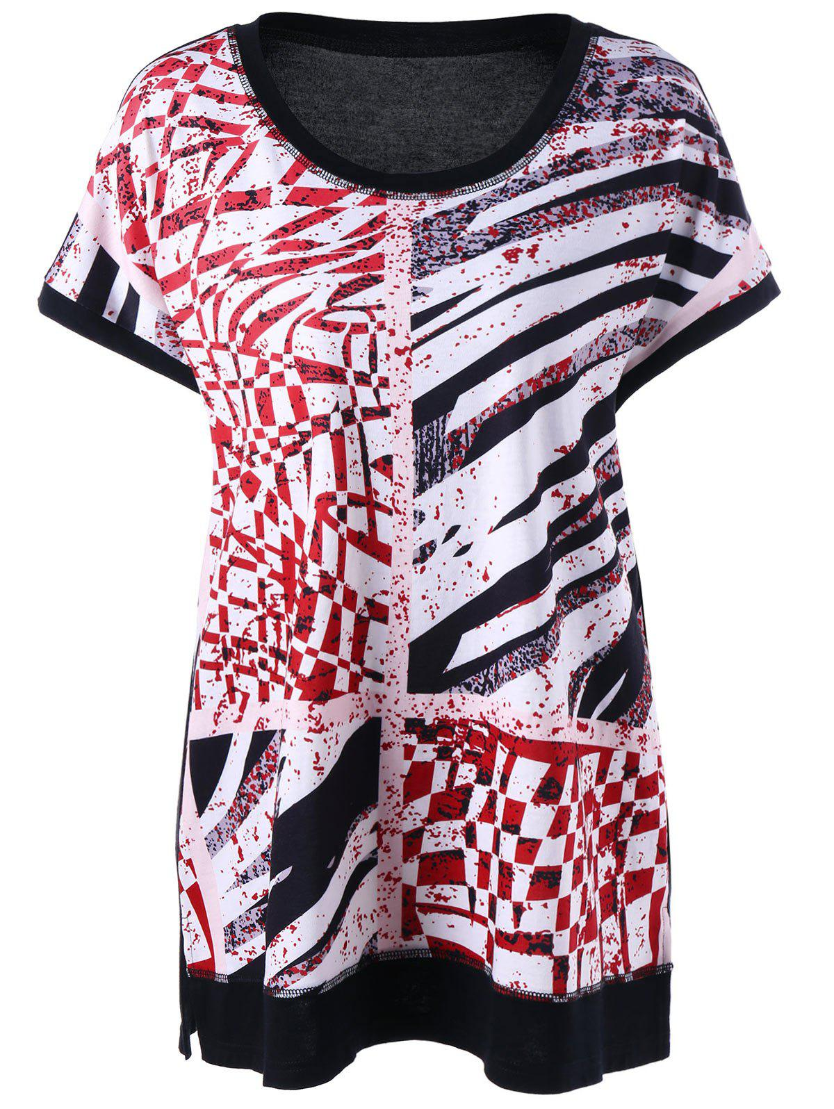 2018 plus size side slit graphic t shirt black white red for T shirt graphics for sale