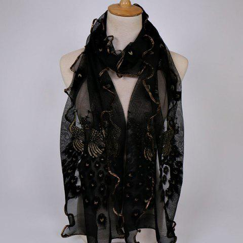 Peacock Floral Embroidered Chiffon Scarf - BLACK