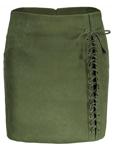 3aa1721e3f 2019 A line Lace Up Faux Suede Skirt In GREEN S | DressLily.com