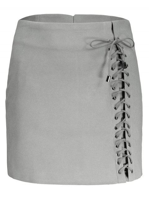 A line Lace Up Faux Suede Skirt - GRAY XL