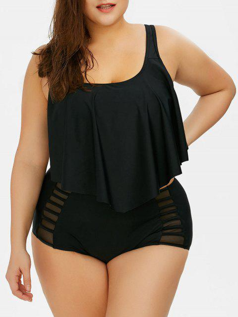 Plus Size Flounce High Waist Bottom Bikini - BLACK 4XL