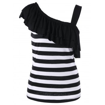 One Shoulder Overlay Striped T-Shirt