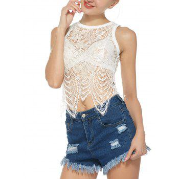 Eyelash Lace See Through Crop Tank Top