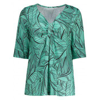 Plus Size Tree Leaf Printed Bow Design V Neck T-Shirt