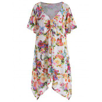 Butterfly Print Asymmetrical Plus Size Top