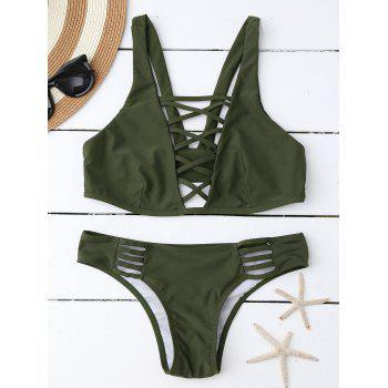 Lace Up Plunging Neck Bikini