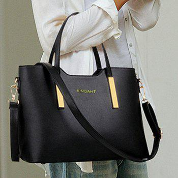 Stunning Metallic and Solid Color Design Tote Bag For Women -  BLACK