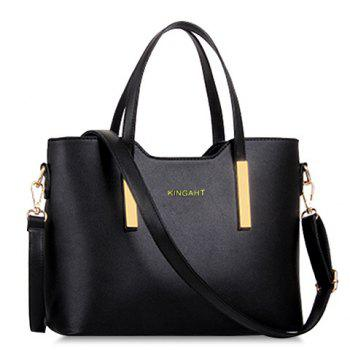 Stunning Metallic and Solid Color Design Tote Bag For Women - BLACK BLACK