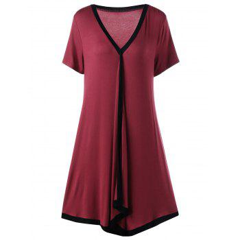 Plus Size Asymmetric Ringer Tee Casual Dress