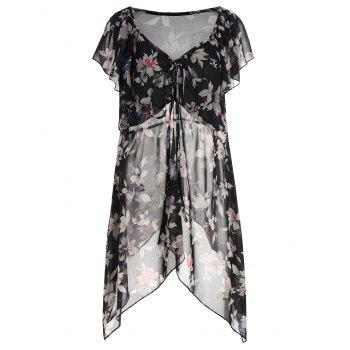 Sheer Plus Size Floral Chiffon Tunic Top