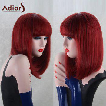 Adiors Long Straight Neat Bang Synthetic Bob Wig