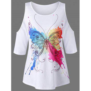Butterfly Print Cold Shoulder T-Shirt