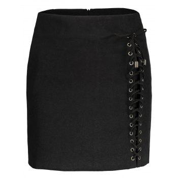 A line Lace Up Faux Suede Skirt