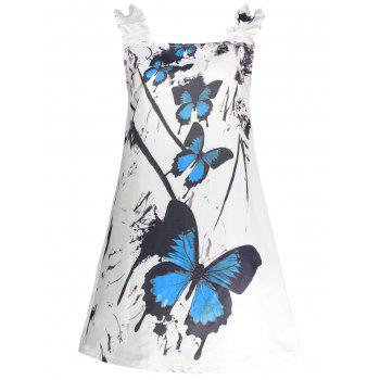 Butterfly Print Mini Ruffled Dress