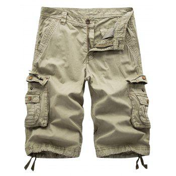 Zipper Fly Flap Pockets Cargo Shorts