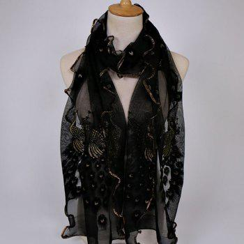 Peacock Floral Embroidered Chiffon Scarf
