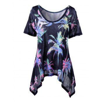 Cold Shoulder Palm Asymmetric T-Shirt