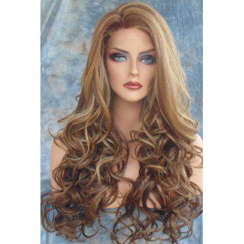 Fluffy Curly Side Parting Long Synthetic Stunning Dark Brown Mixed Light Blonde Capless Wig For Women