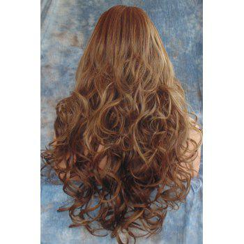 Fluffy Curly Side Parting Long Synthetic Stunning Dark Brown Mixed Light Blonde Capless Wig For Women - COLORMIX