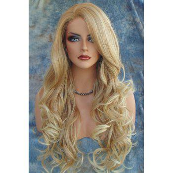 Shaggy Wavy Capless Light Brown Synthetic Charming Long Side Bang Wig For Women