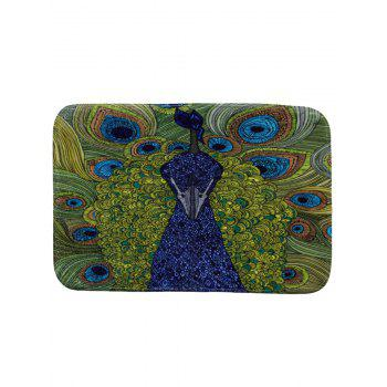 Retro Peacock Print Coral Fleece Bath Rug