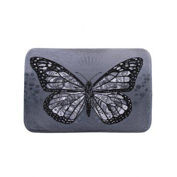 Butterfly Print Coral Fleece Bath Rug