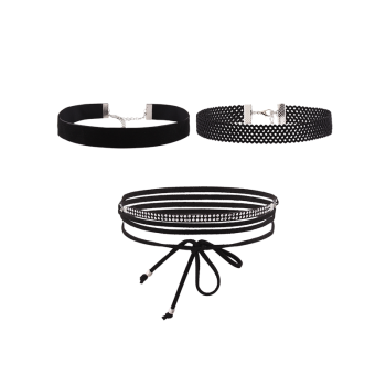 Faux Leather Velvet Choker Necklace Set