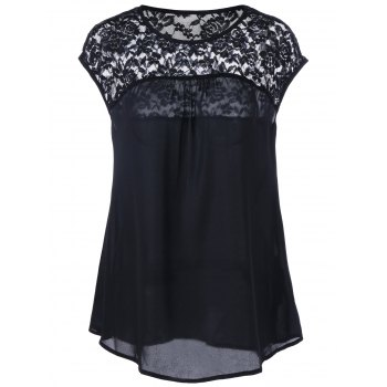 Sheer Cap Sleeve Lace Insert Blouse