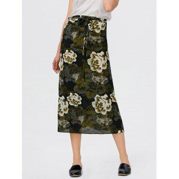 Floral Print High Waisted Self Tie Skirt