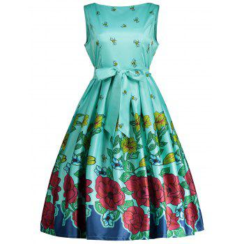 Belted Bee Printed Sleeveless Dress