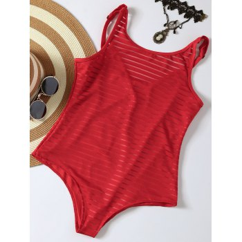One Piece Stripe Tank Swimsuit with Lining