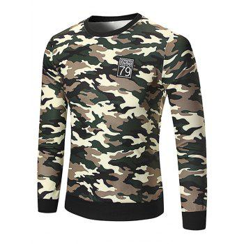 Crew Neck Patch Camo Sweatshirt
