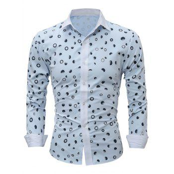 Ombre Polka Dot Print Turndown Collar Shirt