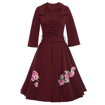 Flower Patchwork Flare Dress With Belt