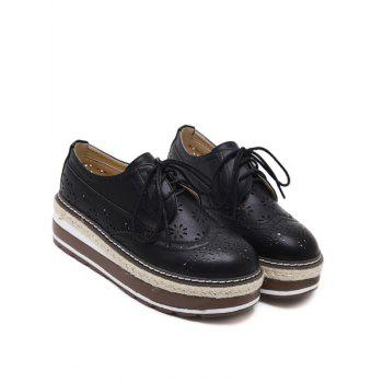 Évider Chaussures Wingtip Plate-forme - Noir 38