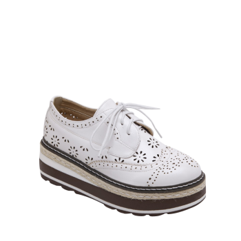 Hollow Out Wingtip Platform Shoes - WHITE 37