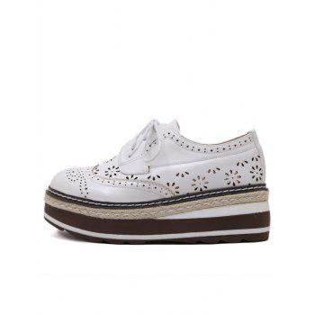 Hollow Out Wingtip Platform Shoes - WHITE WHITE