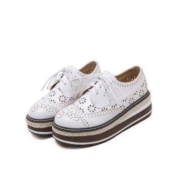 Évider Chaussures Wingtip Plate-forme - Blanc 38