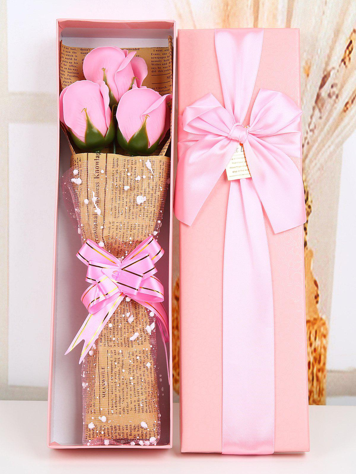 2018 Festival Gift Simulation Rose Soap Flowers with Gift Box PINK ...