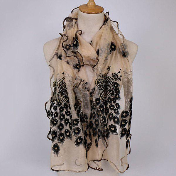 Peacock Floral Embroidered Chiffon Scarf - BEIGE