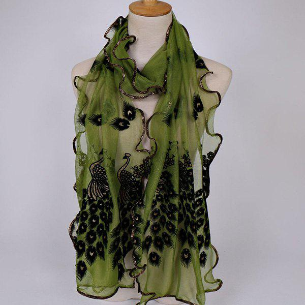 Peacock Floral Embroidered Chiffon Scarf - ARMY GREEN