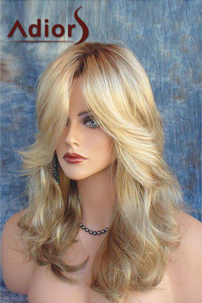 Adiors Long Side Parting Shaggy Layered Wavy Color Mixed Synthetic Wig adiors long middle parting shaggy wavy color mix synthetic party wig