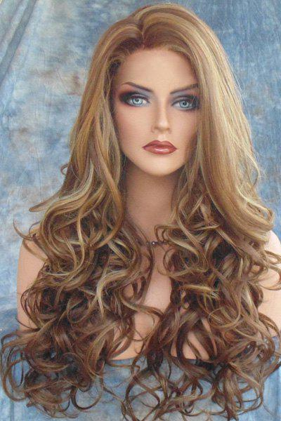 Fluffy Curly Side Parting Long Synthetic Stunning Dark Brown Mixed Light Blonde Capless Wig For Women fluffy afro curly medium synthetic stunning blonde brown mixed capless adiors wig for women